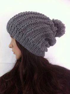 gray Slouch Beanie Slouchy  Hat Button Hand Knit by LoreNovedades, $35.00