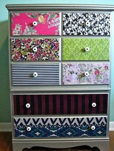 To decorate a dresser. I would probably use similar patterns though (at least similar colors).