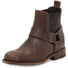 Frye Jayden Harness Leather Bootie ($239) ❤ liked on Polyvore featuring shoes, boots, ankle booties, espresso, bootie boots, frye booties, short boots, short leather boots and frye bootie