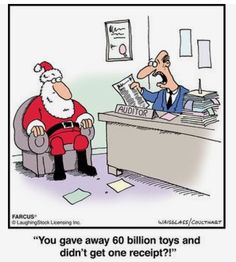 Farcus Comic Strip, Santa at Accounting Christmas Jokes, Christmas Cartoons, Christmas Stuff, Christmas Crafts, Xmas, Office Humor, Work Humor, Funny Cartoons, Funny Jokes
