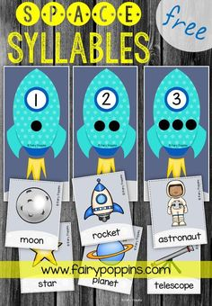 Space Syllables FREE activity to help kids practice syllables with a fun, hands on rocket learning activity for Kindergarten, grade, grade Kindergarten Centers, Kindergarten Reading, Literacy Centers, Abc Centers, Early Literacy, Kindergarten Activities, Learning Activities, Preschool Activities, Syllables Kindergarten