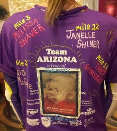 Cool fundraising idea, Dedicate different miles for a donation to help find a cure. Person who donates gives a name of loved one battling cancer. Love!!