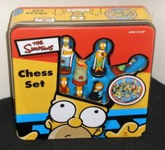 The Simpsons Chess Set Tin New Factory Sealed Cardinal Ind Homer Simpson Marge Bart Lisa Maggie $36