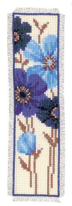 Marcador: Flores de color azul de Vervaco - Marcadores - Kits Bordado - Casa Cenina