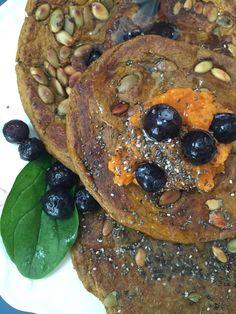Blueberry Pumpkin Spinach Pancakes. Dairy and gluten free. — Our Barefoot Garden