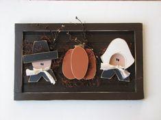 Wood Pilgrim Plaque, Autumn, Fall and Thanksgiving Craft