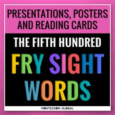 The Fifth Hundred Fry Sight Words divided into 4 lists of 25 words each. The product includes 4 Digital Flashcard PowerPoint Presentations, 4 printable ledger size posters and printable reading cards. Ideal for remote, hybrid and in person teaching. Use the PowerPoint presentations for daily practic... Fry Sight Words, Improve Vocabulary, Sight Words Printables, Powerpoint Presentations, Flashcard, Reading Fluency, Montessori Activities, Card Reading, Remote