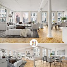 This dramatic 2,561 square foot corner loft is located in a restored 19th-century cast-iron building right in the heart of Soho and is guaranteed to take your breath away with grand proportions, soaring ceilings, and iconic views of the surrounding landmarked district from enormous double-hung windows. // www.halstead.com/15751542