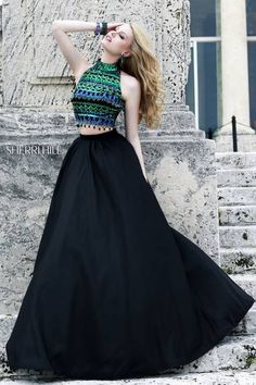 SHERRI HILL Prom Dresses 2015 # 32205 Crop top outfitted with iridescent rows of metallic green and aqua beading which span the high neckline to the midriff of this fresh two piece. Full satin ball gown skirt adds an air of elegance.