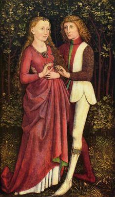 Неизвестный художник Жених и невеста, Около 1470, 64,5 x 35,5 см, Дерево, темпера