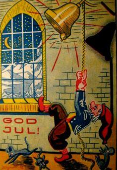 Julekort Ole Sigholdt brukt 1945 Norsk Arbeide