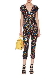 Printed Jersey Wrap Jumpsuit