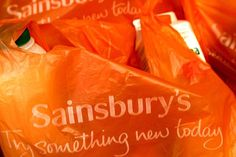 Sainsbury's carrier bags at a store in Shrewsbury