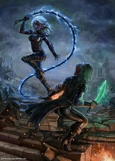 f Drow Elf Rogue Assassin Leather Armor Whip f Rogue Thief Leather Armor Short Sword underdark ruins city battle hilvl Drow Queen Of The Hill by SirTiefling on deviantART Fantasy Races, Fantasy Rpg, Medieval Fantasy, Fantasy Girl, Fantasy Artwork, Dark Fantasy, Elf Characters, Fantasy Characters, Magical Creatures