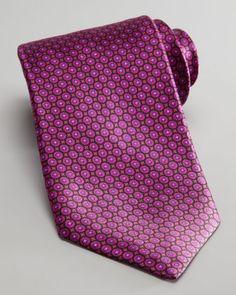 Circle Neat Silk Tie, Fuchsia by Stefano Ricci at Bergdorf Goodman.