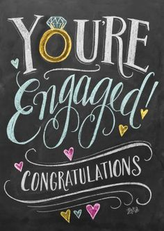 You're Engaged! Congratulations. Cute greetings card for the loved up happy couple.