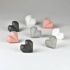 Concrete home decor, concrete jewelry and gifts by MicaRicaShop Cement Jewelry, Clay Jewelry, Valentine Gifts, Valentines Day, Heart Earrings, Small Gifts, Modern Jewelry, Cute Gifts, Handmade