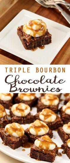 Boozy Baking: Triple Bourbon Chocolate Brownies - new site Just Desserts, Delicious Desserts, Dessert Recipes, Party Recipes, Dessert Ideas, Cake Recipes, Yummy Food, Chocolate Brownies, Chocolate Desserts