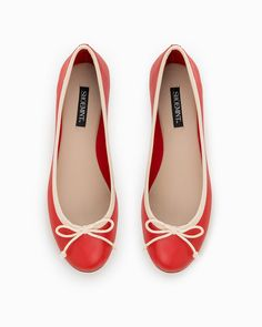Red and white ballerina flats