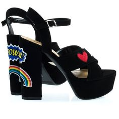 Pazia Black F-Suede by Delicious, Graphic Embroidery Emoji Patch Stich... (1.125 UYU) ❤ liked on Polyvore featuring shoes, sandals, block heel platform sandals, suede shoes, dress sandals, black platform sandals and block heel sandals