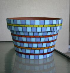 Mosaic Glass Planter Flower Pot by UnitedFragments on Etsy