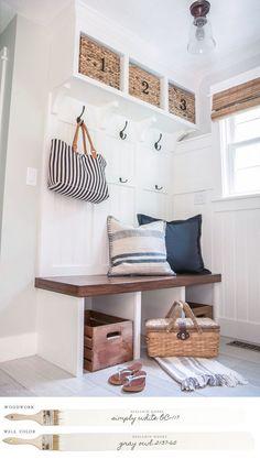 New England Farmhouse Neutral Paint Color Scheme | Mudroom with custom-built storage painted Benjamin Moore's Simpy White. #farmhouse #farmhousedecor #modernfarmhouse #homedecor