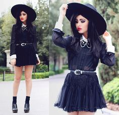 Yes Style Salem Witch Blouse, Chicwish Lace Petticoat Skirt, Danielle Christine Draping Skull Necklace