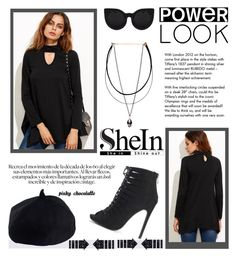 """""""SheIn - Asymmetrical Swing T-shirt: 21/10/16"""" by pinky-chocolatte ❤ liked on Polyvore featuring Tiffany & Co. and Delalle"""