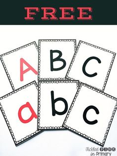 FREE alphabet flashcards with the vowels in red. Read more to find other free alphabet activities. Letter Flashcards, Alphabet Worksheets, Printable Alphabet Letters, Coloring Worksheets, Handwriting Worksheets, Handwriting Practice, Phonics Activities, Alphabet Activities, Preschool Alphabet