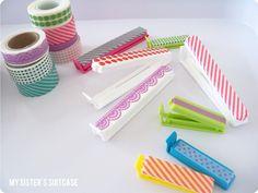 {Washi Tape Week} Day 1: Kitchen Organization - but using wood clothespins