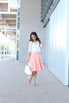 Cropped lace top and peach scuba midi skirt with white purse and pumps  //  Click the following link to see all photos and details: http://www.stylishpetite.com/2014/02/peach-and-cropped-lace-tee-plus-some.html