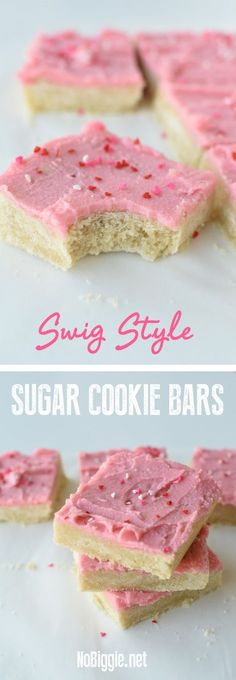 Sugar Cookie Bars - swig style! This recipe is a small batch recipe which fills a 8x8inch pan. Cut them into 9 Bars or smaller. |#Recipe