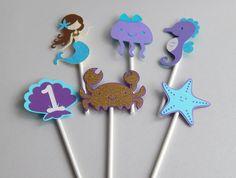 Bajo las mar sirena Cupcake Toppers conjunto por LittleBannerShop