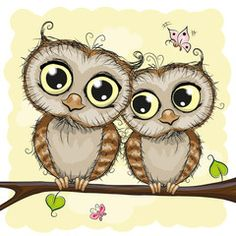 Vettoriale: Greeting card with Two Owls