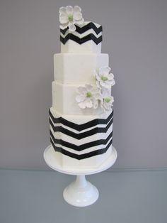 Hexagon Chevron Wedding Cake - black chevron with sugar magnolias