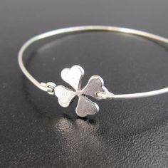 Silver 4 Leaf Clover Bracelet Good Luck Charm by FrostedWillow, $15.95