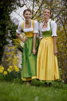 """Tostmann Trachten: Dirndl classics ~ """"Ilga"""" (gelb/yellow) mit Seidenschürze, """"Lydia"""" (grün/green)~ mit Narzissen und Forsythien Blueten, with Daffodil and Forsythia flowers"""