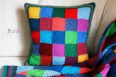 Crochet patchwork cushion