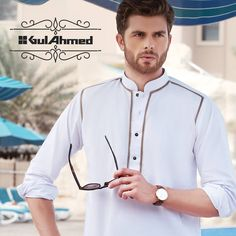 Gul Ahmad Men Kurta Eid Collection 2016 Arab Men Fashion, African Men Fashion, Suit Fashion, Designer Suits For Men, Designer Clothes For Men, Gents Suit Design, Muslim Men Clothing, Mens Shalwar Kameez, Mens Indian Wear