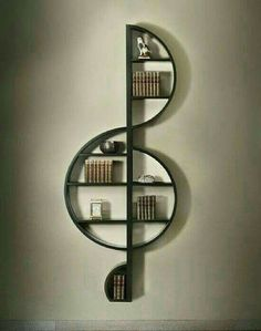 A book shelf for music lovers.