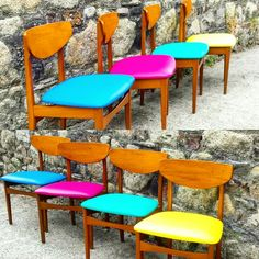 Fantastic coloured dining chairs reupholstered in vinyl in Mia's Upholstery studio.