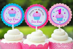 Cupcake Toppers in Hot Pink, Light Blue and Pink, Cupcake Birthday Party - Set of 12