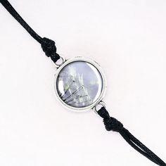 Dandelion Bracelet, Summer, Floral, Nature, Handmade Black Cord Bracelet, Silver, Antique Bronze, KC Gold BCZA01R07K06