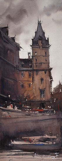 Gray Day Paris    by Eugen Chisnicean   Watercolor 45cm x 20cm