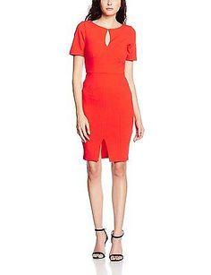 12, Red (Tomato), Paper Dolls Women's Keyhole Stitch Detail Dress NEW