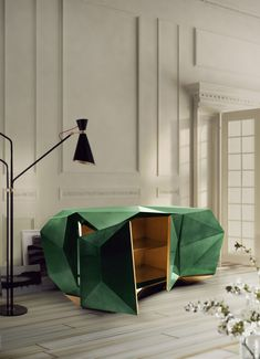 Lacquered wooden sideboard DIAMOND by @Cindy Bocanegra do Lobo #green #interiors