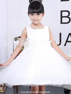 a9f76d2664 Ball Gown Tea Length Flower Girl Dress - Cotton   Polyester   Tulle  Sleeveless Jewel Neck with Bow(s)   Flower by LAN TING Express 2019 - US   29.99