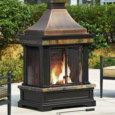 Backyard fire pit outdoor wood burning stove heater patio deck iron brownston outdoor fireplace sunjoy httpamazondp teraionfo