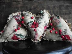 Primitive Valentine's Day Raggedy Heart Ornies Tucks Bowl Fillers