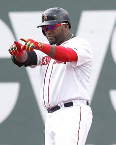 BOSTON, MA - JUNE 14: David Ortiz #34 of the Boston Red Sox reacts after he knocked in a run against the Cleveland Indians in the first inning at Fenway Park on June 14, 2014 in Boston, Massachusetts. (Photo by Jim Rogash/Getty Images)